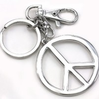 Peace Sign Dangle Fashion Accessory Keychain Key Ring Charm
