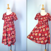 80s Summer Beach Dress / Red Floral Smocked Dress
