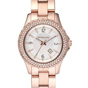Michael Kors Women's Petite Camille Rose Gold-Tone Stainless Steel Bracelet Watch 26mm MK3253 | macys.com