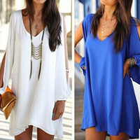 2015 Women Summer Casual Dress Sexy V-neck Loose Unequal Short Chiffon Dress 7 Color Plus Size Party Beach Vestido = 1714488964