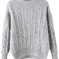 Grey Long Sleeve Ripped Knitted Sweater