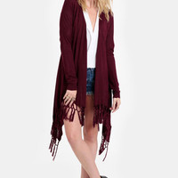Berry Sangria Fringed Cardigan