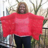 CROCHET PONCHO, BOHO crochet poncho, womens poncho, Fringe poncho, red cotton poncho, Fall/ Winter poncho,  cotton, cowl neck