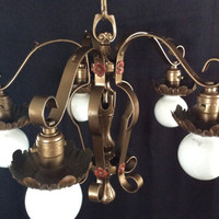 Antique  Wrought Iron Art Deco 5 Arm Down Light Chandelier 1920s Polychrome