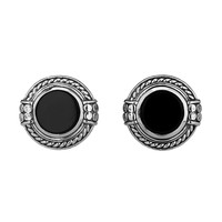 Scott Kay Unkaged Silver Round Rope Cufflinks with Faceted Onyx Center