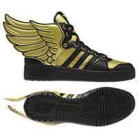 Adidas Jeremy Scott Black Wings Shoes Rare 2.0 JS Gold