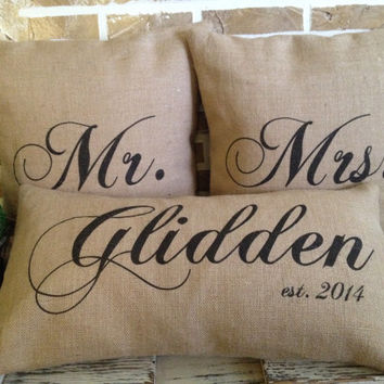 Mr. & Mrs. Wedding Name and Date set of three Burlap Pillows - Inserts Included