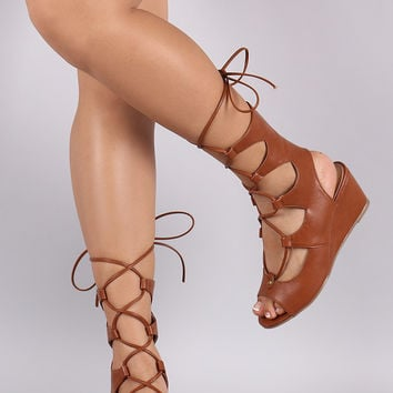 Lily Lace Up Wedges