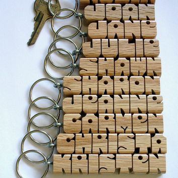 SHOP SPECIAL - 10 Wood Name Keychains - Custom Carved and Shipped within 3 Days
