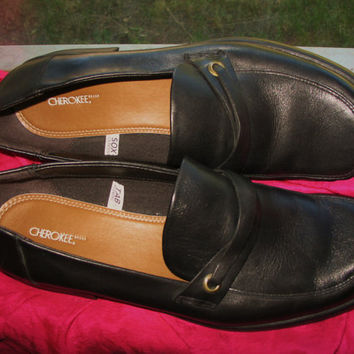 Amaizing Vintage CHEROKEE Shoes Black Leather Low Heels MEN Loafers Size 11/44,5 M