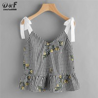 Dotfashion Sash Tie Shoulder Blossom Embroidered Ruffle Gingham Top 2018 Floral V Neck Peplum Woman Top Ruffle Hem Knot Vest