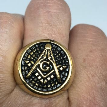 Vintage 1980's Gothic Golden Stainless Steel Free Mason G Men's Ring