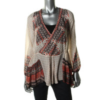 Free People Womens Chiffon Printed Pullover Top