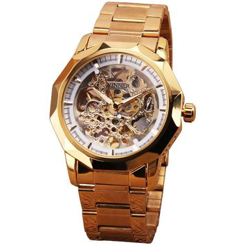 WINNER Men's Watches 2017 Top Brand Luxury WINNER Brand Full Stainless Steel Wristwatch Skeleton Dial Luminous Hands +WATCH BOX