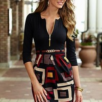 Black Multi Zipper belted dress from VENUS