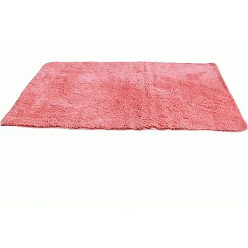 Tache Solid Salmon Coral Pink Thin Rug