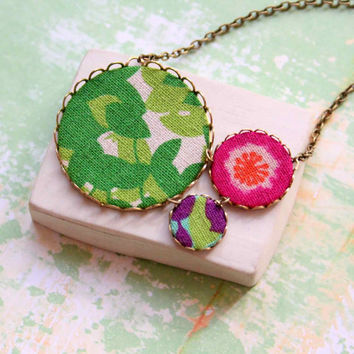 Handmade Statement Necklace with Floral Patterns in Pink, Green and Violet - Spring, Designer Necklace