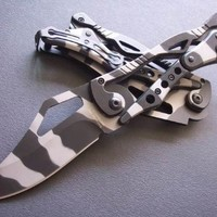 S.R. Camo Transformer Military Tactical Mechanical Folding Knife Best Buy, Best Choice for Survival, Walking, Sailing, Craft, Gardening or Camping Gear