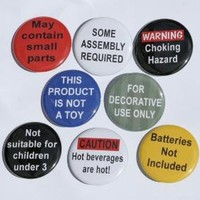 Warning Labels Set of 8 Buttons Pins by theangryrobot