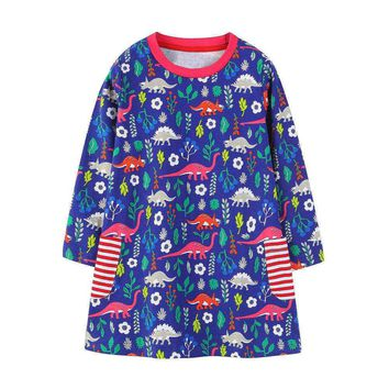 Littlemandy Girls Dress Dinosaur 2018 Autumn New Princess Dresses For Girl Kids Baby Girl Clothes Long Sleeve Baby Girl Tunic