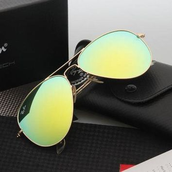 Ray Ban Aviator Sunglasses Gold Frame Grass Green Flash Lens RB3025 Sunglasses