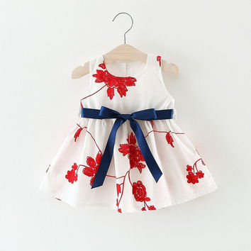 Super Deal Summer Cotton Baby Dress Princess Dress Puff Sleeveless Cute Fashionable Leaf Pattern Baby Infant Dress 0-2 Years