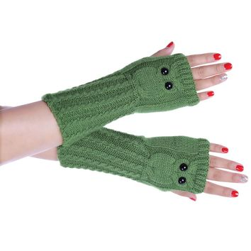 Creative Fashion Knitted Arm Owl Fingerless Winter Gloves Soft Warm Mitten women gloves luvas femininas para o inverno eldiven