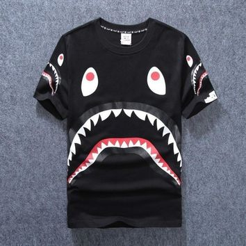 New men's tide brand shark mouth men and women couple round neck short sleeve [140551290892]