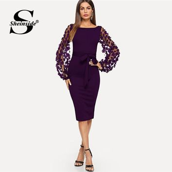 Sheinside Purple Elegant Bodycon Dresses For Woman Party Dress Flower Applique Mesh Sleeve Form Fitting Women Midi Dress