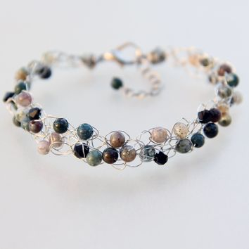 Chunky crochete wiring agate stone beaded bracelet Bridesmaids gifts Free US Shipping handmade Anni designs