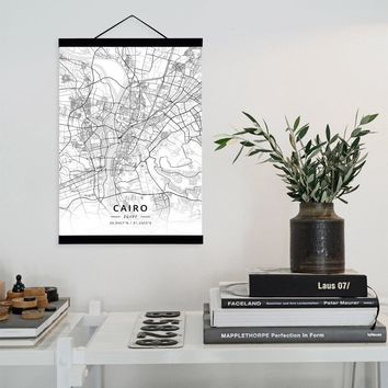 Cairo, Egypt City Map Wooden Framed Canvas Painting Home Decor Wall Art Print Pictures Poster Hanger