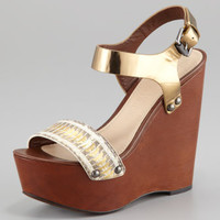 Jamaya Metallic Snake Wedge Sandal