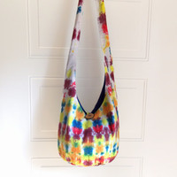 Tie Dye Hobo Bag, Sling Bag, Bright, Colorful, Psychedelic, Striped, Rainbow, Boho Bag, Summer, Hippie Purse, Crossbody Bag