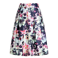 Neon Floral Print Pleated Swing Skirt
