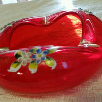 Art Glass Ashtray Trinket Candy Dish Hand-painted Flowers Blown Glass Red Unique Shape Vintage