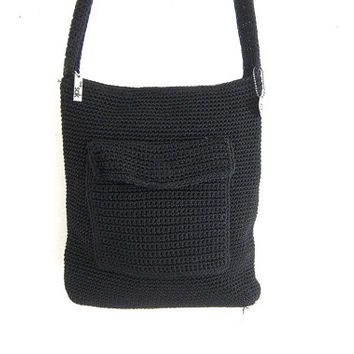 Vintage woven black SAK bag. Woven boho bag. Crochet knit shoulder purse. Knit purse