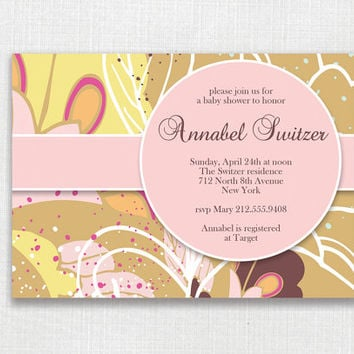 Annabel Floral PRINTABLE Invitation Card. Baptism, Birthday, Bridal or Baby Shower, Wedding, Save the Date. Pink Sand Yellow Brown