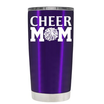 Cheer Mom Pom Pom on Translucent Purple 20 oz Tumbler Cup