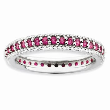 Sterling Silver Stackable Expressions Polished Simulated Ruby Eternity Ring