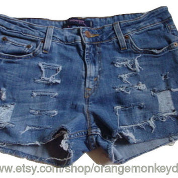 Free ship LEVI SUPER low rise cut off women distressed destroyed denim frayed jean shorts Size 12