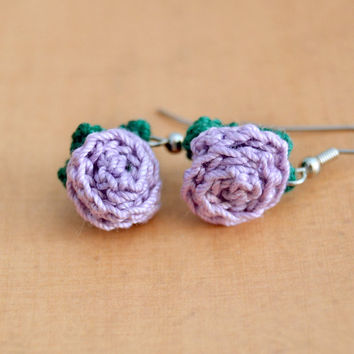 Purple, Lavender Flower Crochet Rose Earrings, Floral Nature, Womens Teen Kids Spring Summer Jewelry, Wife Girlfriend Mom Sister Friend Gift