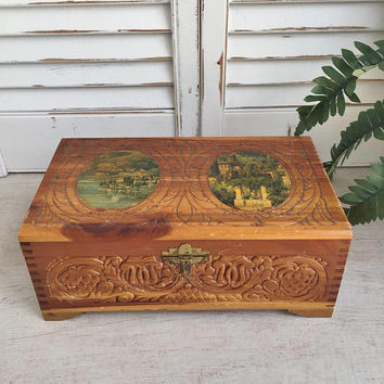 Vintage Carved Wood Jewelry Box, Rustic Wooden Jewelry Box, Jewelry Storage, Large Jewelry Box, Wooden Storage Box, Jewelry Box for Men