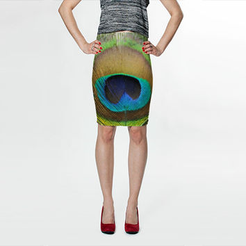 Peacock Feather - Blue Purple Yellow - Fitted Skirt - Pencil Skirt - Knee Skirt -  S M L XL - Women's Skirt Clothing