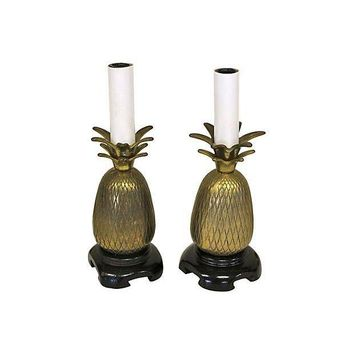 Pre Owned Brass Pineapple Candle Lamps   Pair Of 2