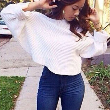 White Slash Neck Long Sleeve Sweater
