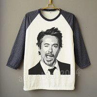 Robert Downey Jr Shirt RDJ Wink Face Shirt Raglan Shirt Baseball Shirt Unisex Shirt Women Shirt Men Shirt Jersey Shirt Long Sleeve Shirt