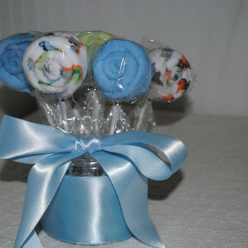 Baby boy's wash cloth lollipops and Onesuit gift