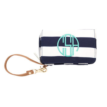 Monogrammed Wristlet, Navy Blue Stripe Wristlet, Purse Wallet, Monogram Wristlet, Personalized Wristlet, Mini Wallet, Monogram Clutch