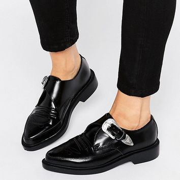 T.U.K. Western Leather Point Flat Shoes at asos.com