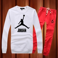 Jordan Woman Men Long Sleeve Shirt Top Tee Pants Trousers Set Two-Piece Sportswear-1